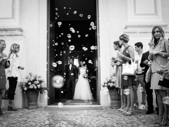 bride and groom exit from wedding ceremony