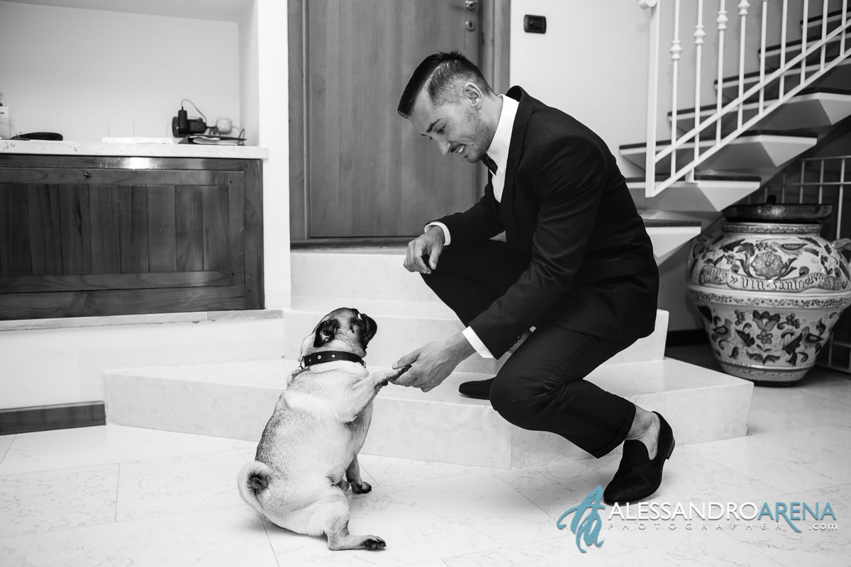 Groom greets his dog