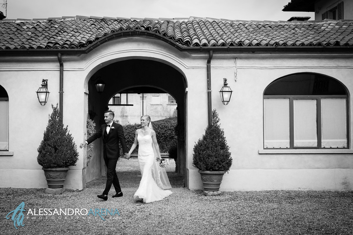 Bride and Groom in Villa Bossi - Wedding-reception in italy Lombardy Varese