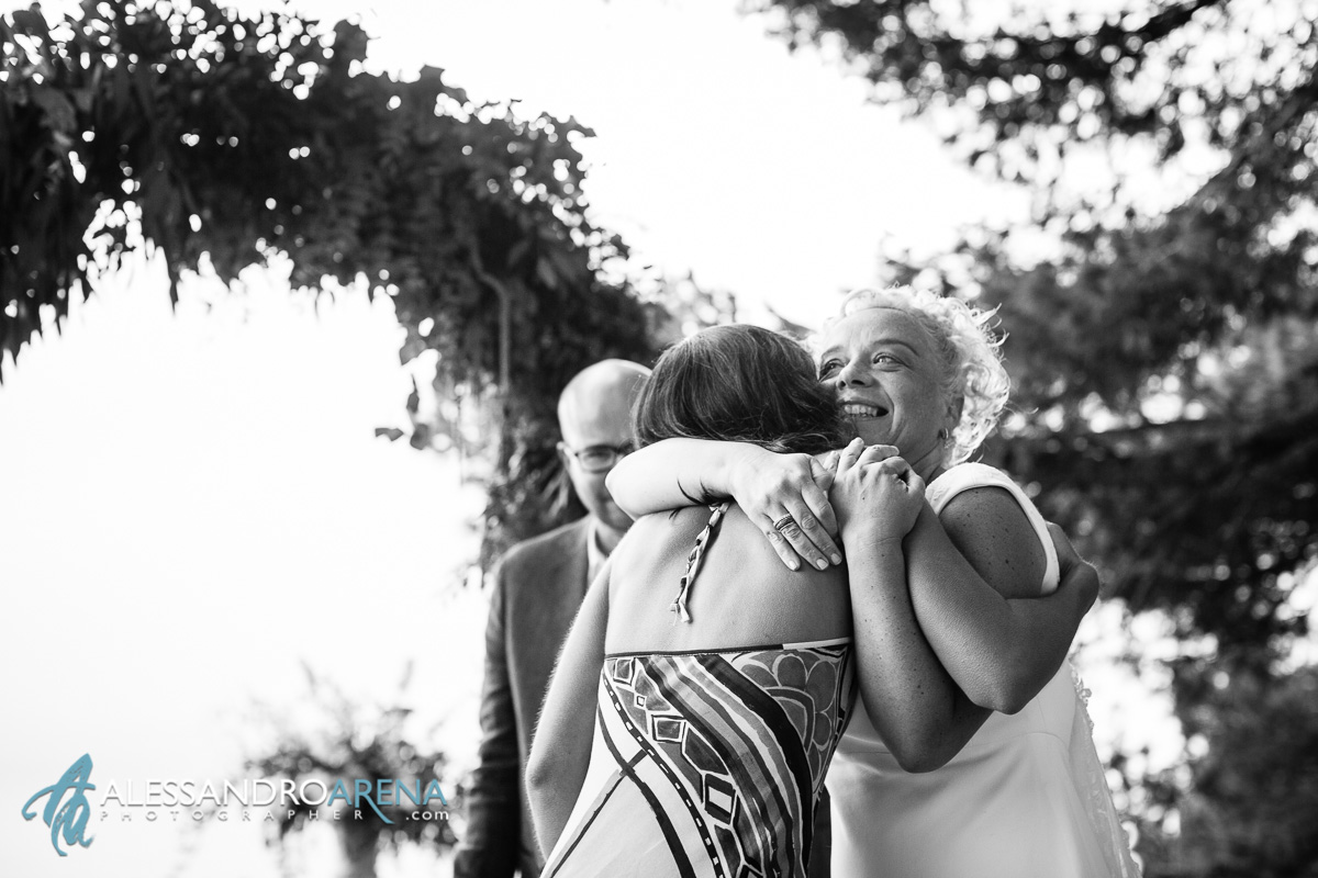 hug and emotion during the civil ceremony